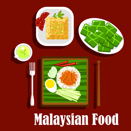 curry rice: Malaysian cuisine rice dishes with fragrant rice nasi lemak with boiled egg, lamb curry, cucumbers, and chilli, fried rice with tomatoes and green tea with rice desserts, wrapped in banana leaves