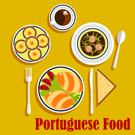 broth: Typical portuguese national cuisine with stuffed bread empanadas, served with tomatoes and lettuce, green broth soup with sliced sausages, egg tarts with cup of coffee and wheat bread. Vector illustration