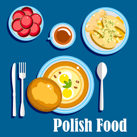 boiled eggs: Traditional polish cuisine food with hard boiled eggs and bread bun, baked fish steaks, served with boiled new potatoes and cup of coffee with donuts. Flat style