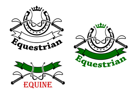 sport silhouette: Equestrian sport symbols for emblems design with dressage whips and horseshoes, topped with crowns, decorated by ribbon banners and headers Equestrian, Equine