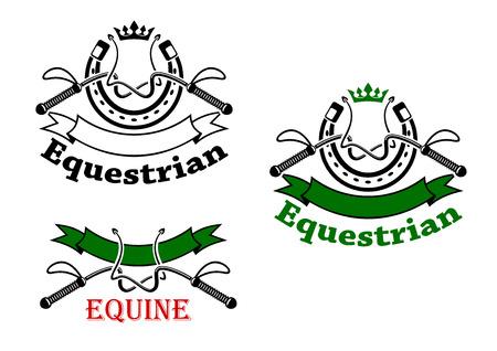 Símbolos deportivos de caballo para el diseño de emblemas con látigos de doma y herraduras, rematado con coronas, decorada por banderas de la cinta y las cabeceras ecuestre, equino Foto de archivo - 51448233