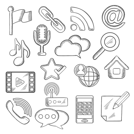 communication icons: Multimedia and communication sketched icons with smartphone