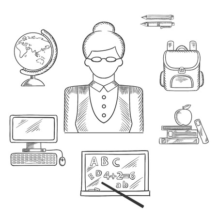 sketched icons: Teacher profession sketched icons with woman in glasses surrounded