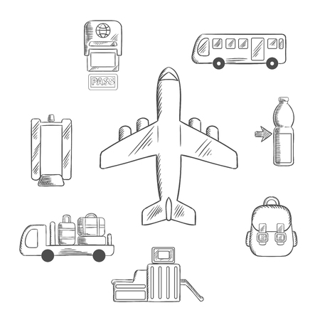 airport security: Airport and aviation service icons for infographic design with airplane surrounded by passport control, metal detector and security gate, baggage service and passenger bus, drink and hand baggage