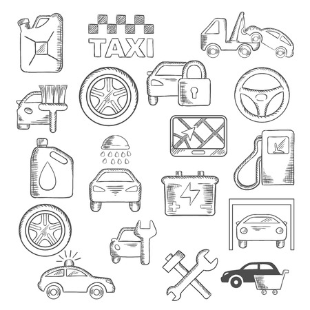 car service: Car, mechanic and service icons with car sale, towing and paint, washing and repair, tire service, taxi, fuel jerrycan and gas station, wheel and navigation, battery, traffic police and security system. Vector sketch style