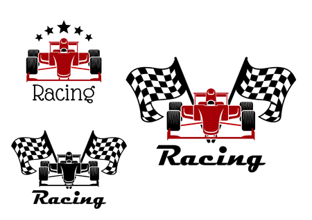 Motor racing sporting symbols and icons of red and black race cars with checkered flags on both sides and arch of stars above with caption Racing Иллюстрация