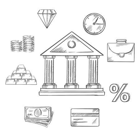 commodities: Banca elementos infogr�ficos con el edificio del banco central rodeada con los iconos de dinero, lingotes de oro, cartera, reloj, diamante, materias primas, inversiones, tarjetas de cr�dito y tasa de porcentaje. estilo de dibujo vectorial Vectores