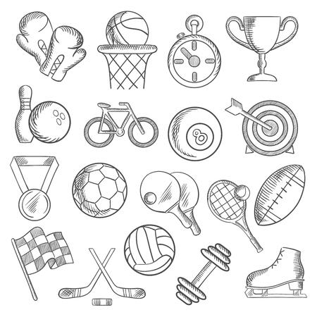bolos: El deporte y los croquis de fitness con iconos del deporte del voleibol, f�tbol, ??rugby, baloncesto billares, bolas de bolos y art�culos, trofeo de la copa, la bicicleta, la bandera de carreras, patinaje sobre hielo, guante de boxeo, cron�metro, pesa de gimnasia y la medalla