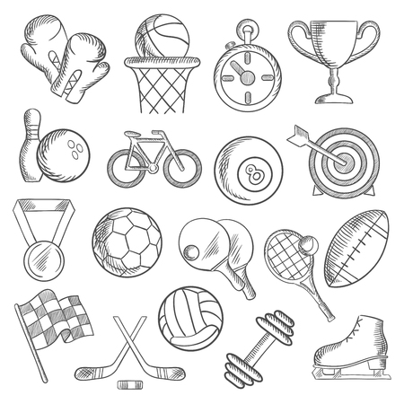 stopwatch: Sport and fitness sketch icons with sport volleyball, football, rugby, basketball billiards, bowling balls and items, trophy cup, bicycle, racing flag, ice skate, boxing glove, stopwatch, dumbbell and medal