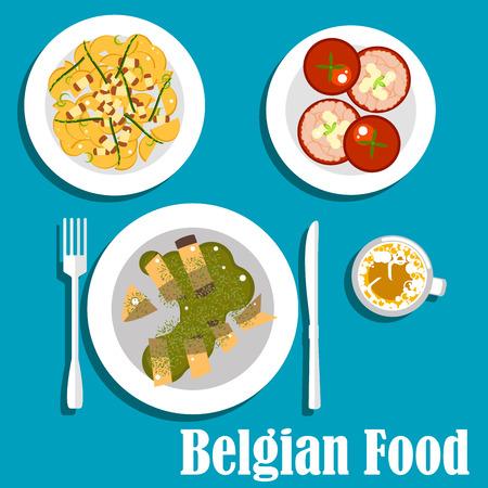 savoury: Savoury dishes of belgian cuisine flat icons