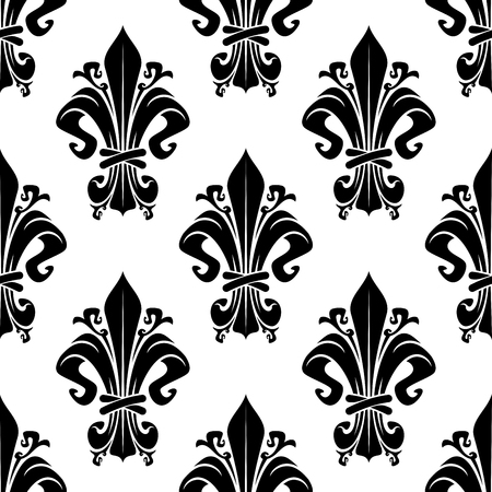 dainty: Black and white vintage floral seamless pattern with dainty heraldic royal fleur-de-lis elements