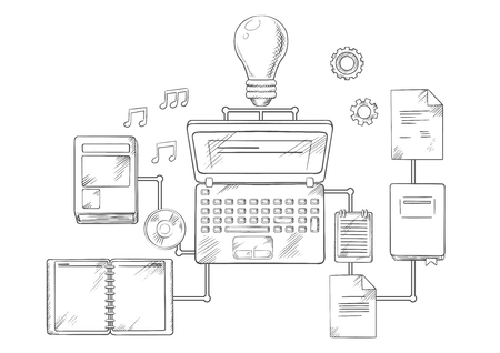 interconnected: Web education, knowledge or e-learning concept with laptop computer and light bulb surrounded by a variety of interconnected education icons. Vector sketch style Illustration