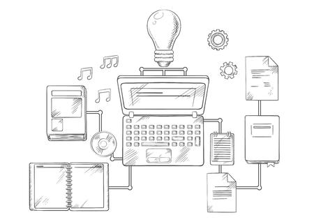 Web onderwijs, kennis of e-learning concept met laptop computer en gloeilamp omgeven door een verscheidenheid van onderling verbonden onderwijs pictogrammen. Vector schets stijl