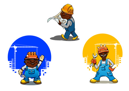 industry design: Cheerful smiling builder, bricklayer and engineer cartoon characters in orange hard hats with spanner, mason trowel and blueprint in hands. Construction industry design usage Illustration