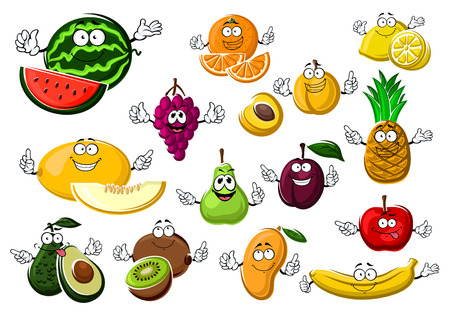 Appetizing ripe tropical and garden fruits with watermelon, grape, melon, avocado, kiwi, pear, orange, apricot, plum, mango, apple, banana, lemon and pineapple Ilustracja