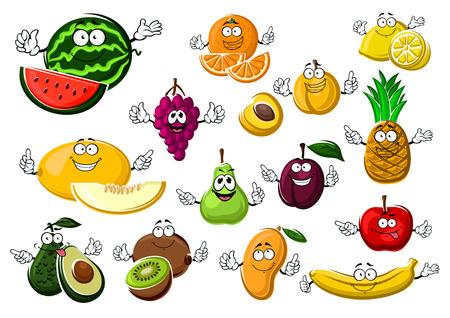 banana caricatura: frutas tropicales y jardines maduros apetitosos con la sandía, uva, melón, aguacate, kiwi, pera, naranja, albaricoque, ciruela, mango, manzana, plátano, limón y piña