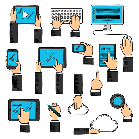 computer icons: Digital devices and web technology icons in sketch style with human hands and tablets, desktop computer and keyboard, smartphones and digital pen, cloud data storage and search application.