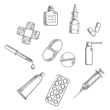 ointment: Medication icons with drugs icons as capsules, blister of pills, nose and throat sprays, syringe, drops bottle and dropper, sticking plaster and ointment tube. Vector sketch illustration Illustration