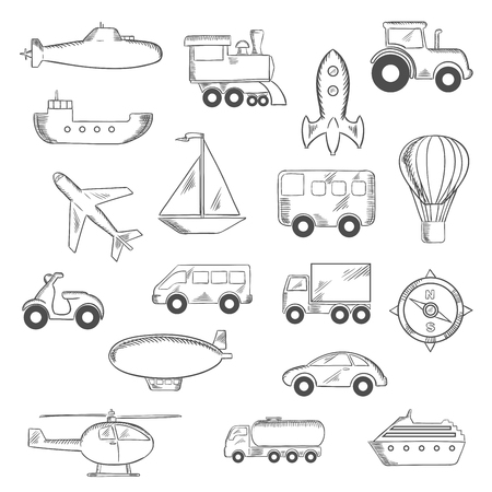 transportation icons: Transportation icons set with silhouettes of cars Illustration