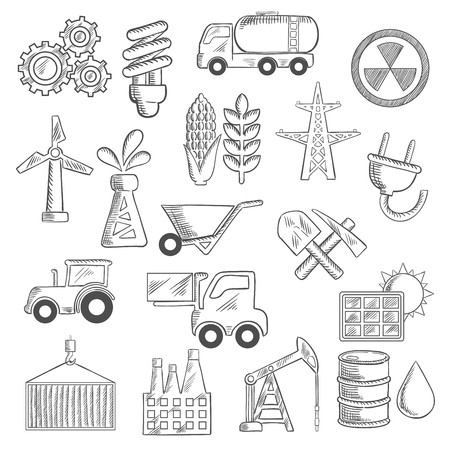 corn on the cob: Industry and ecology sketches of  oil pump and barrel, refinery, tractor and corn cob, wheat, radiation, solar panel, gears, fuel and forklift trucks, lamp and shovel, wind turbine and electricity elements. Vector sketches