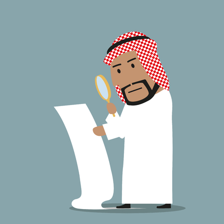 reading glass: Concentrated arabian businessman with magnifying glass reading and analyzing big contract. Contract inspection, fine print, fraud in terms and conditions concept Illustration