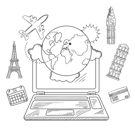 sketched icons: Online travel and sightseeing booking service sketched icons with a laptop surrounded by a globe, calendar, credit card, airplane and international landmarks Illustration