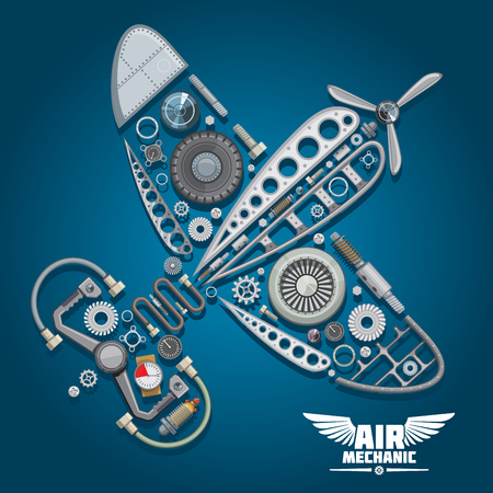 airplane: Air mechanic design with silhouette of retro propeller airplane, composed of wings body, reduction gear, propeller, pilot control wheel, pressure hoses, distributor valve, landing gear, colorful gauges, bolts and screws