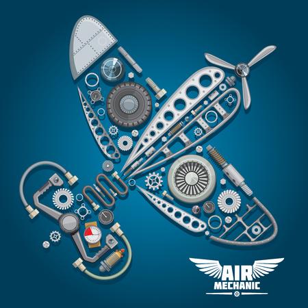 Luftmechanikerentwurf mit der Silhouette des Retro- Propellerflugzeuges, bestanden aus Flügelkörper, Untersetzungsgetriebe, Propeller, Vorsteuerrad, Druckschläuchen, Verteilerventil, Fahrwerk, bunten Messgeräten, Bolzen und Schrauben