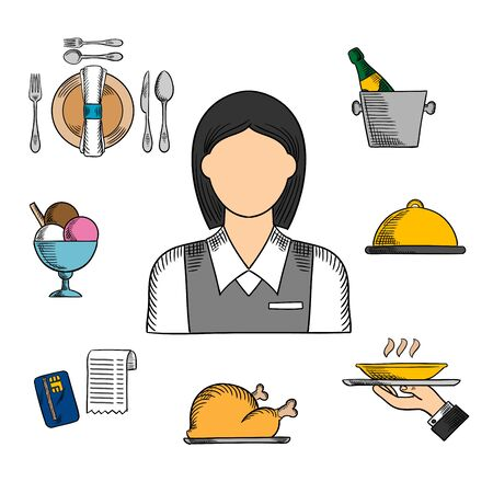 restaurant bill: Waiter profession sketched  icons with waitress in uniform surrounded by dinner, champagne and ice bucket, ice cream sundae, fried chicken, cloche and restaurant bill. Vector sketch illustration