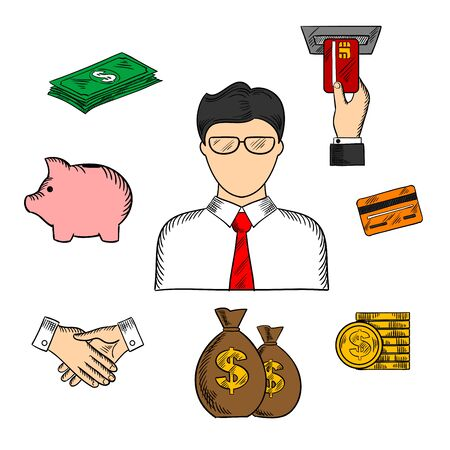 sketched icons: Banker profession color sketched icons with businessman and financial objects such as money bags, credit card, business handshake, piggy bank, ATM, dollar coins and bills. Vector color sketch