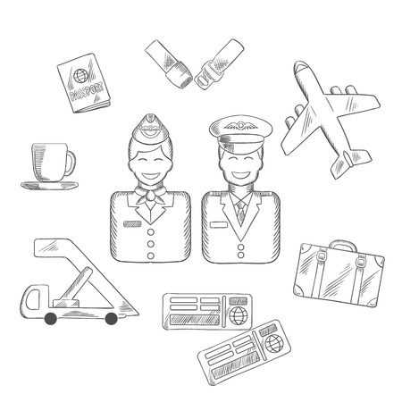 seat belt: Air traveling and aviation sketch icons with smiling stewardess and pilot in uniform, surrounded by passport and suitcase, plane and seat belt, tickets and cup of coffee symbol. Vector sketch