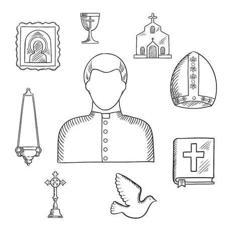 clergyman: Priest profession with sketches of mature man, surrounded by the Bible, cross, bowl and candelabra, icon and church or temple, mitre and dove bird Illustration