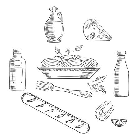 sauces: Italian pasta and food elements with traditional italian spaghetti, sauce and basil encircled by bottles of olive oil, tomato and mustard sauces, fork, cheese, ciabatta bread and salmon fish with lemon. Vector sketch illustration Illustration