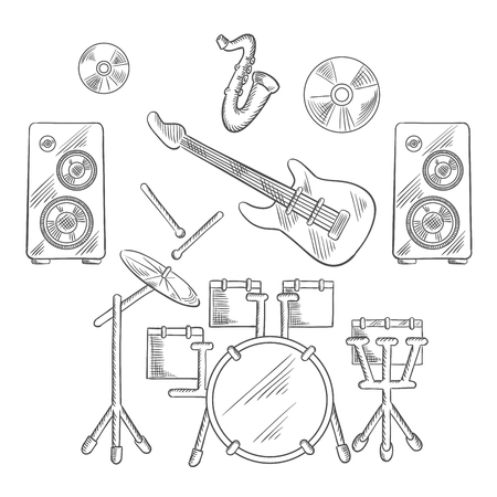 band instruments: Musical band instruments with drum set, electric guitar, drum sticks, saxophone, disks and speakers. Vector sketch illustration Illustration