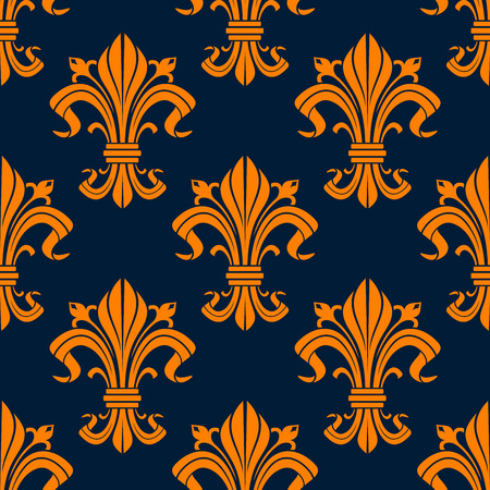 scroll tracery: Bright orange fleur-de-lis seamless pattern with ornate floral compositions of curled leaves and buds on dark blue background. Wallpaper, textile or interior accessories design usage