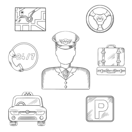sketched icons: Taxi driver in uniform surrounded by taxi service sketched icons  as a car, parking sign, luggage, steering wheel, navigation map and call center. Vector sketch illustration Illustration
