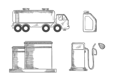 sketched icons: Oil industry sketched icons of r storage, transportation and sale of gasoline, tanks, pump and canister. Vector sketch illustration