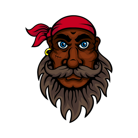sea robber: Cartoon old pirate wearing red bandanna with lush beard, mustache and scar on cheek. Marine sailor, piracy adventure or children book design usage Illustration