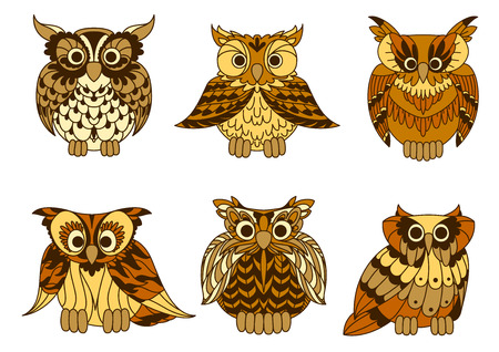 owl illustration: Yellow cartoon horned owls birds with decorative mottled brown plumage ornament on chests and wings. Retro stylized bird characters for education mascot, tattoo or t-shirt print design usage