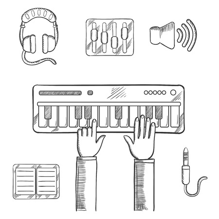 music player: Sound recording and music icons sketch with person playing an electronic keyboard, earphones, volume sliders, megaphone, tablet or MP3 player and a sound jack or plug. Vector sketch Illustration