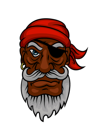 red eye: Gray bearded old pirate character in red bandanna and leather eye patch. Marine adventures, travel or piracy themes design Illustration