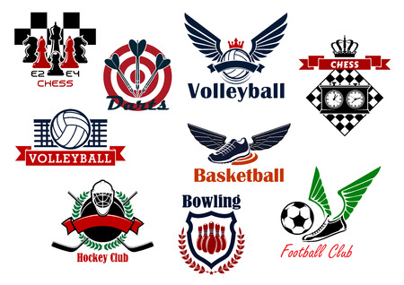 championship: Football or soccer, basketball, ice hockey, chess, bowling, darts and volleyball sport games emblems design with balls, sticks and puck, chessboards and pieces, ninepins, arrows and dartboard, supplemented by heraldic elements