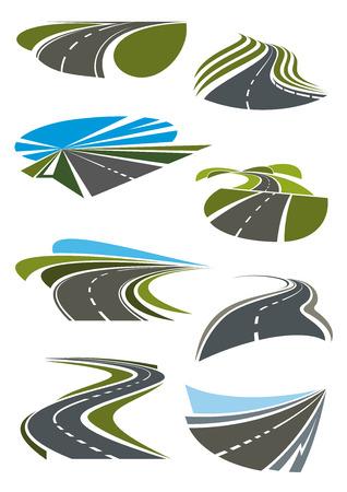Drogi i autostrady ikony ustaw. Szare drogi asfaltowe, zielone pola i błękitne niebo na horyzoncie. Wektor ikony i symbole
