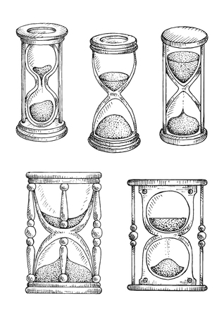 usage: Hourglasses and sand glasses isolated sketch icons with decorative stands and different balance of sand in glass bulbs. Time concept design usage