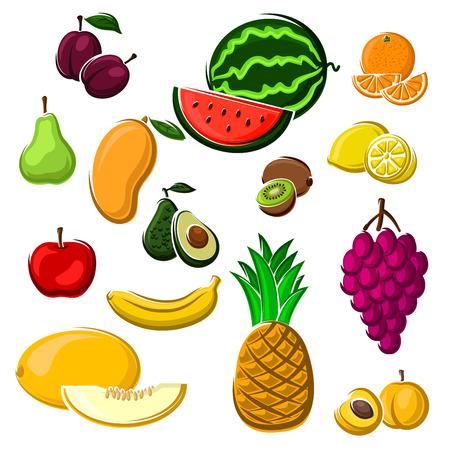 banana caricatura: jugosas frutas tropicales frescas.