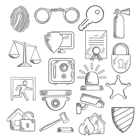 patent key: Security sketch icons set with web security shield and padlock, key and safe, video surveillance, fire security, justice scales and handcuffs, fingerprint, extinguisher and sheriff star