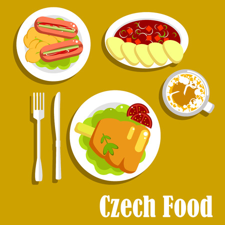 Meat dishes and drink of czech cuisine. Tomato soup with beef and dumplings, roast pork knee on lettuce, pickled sausages, stuffed with pickles, served with fried potatoes and cappuccino cup Ilustracja