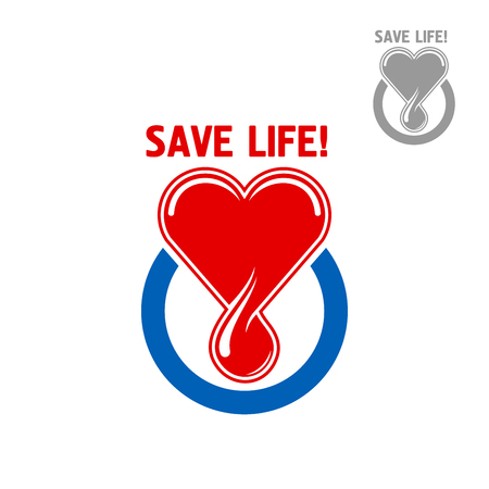 hematology: Blood donation symbol or icon design of red heart with a blood drop, framed by a blue circle with caption Save Life. Medicine, healthcare, blood donation and medical charity concept