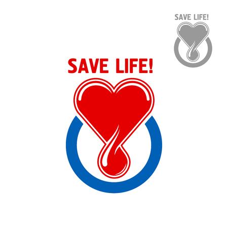 simbolo medicina: símbolo de la donación de sangre o el diseño de iconos de corazón rojo con una gota de sangre, enmarcado por un círculo azul con el subtítulo Guardar vida. Medicina, atención sanitaria, la donación de sangre y el concepto de la caridad médica Vectores