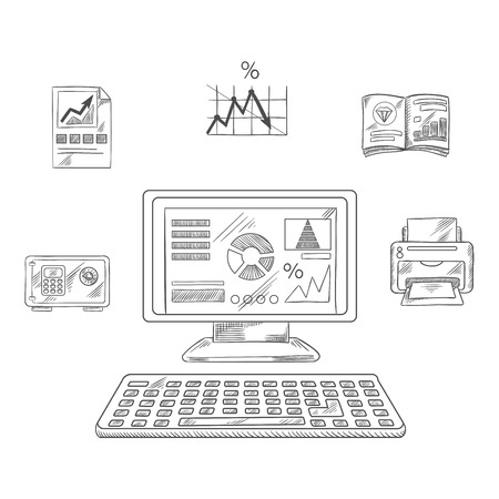 office printer: Business, financial and office printer, laptop computer, report and chart, graph, folder and safe box. Vector sketch